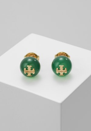 SEMI PRECIOUS STUD EARRING - Orecchini - gold-coloured/dark jade