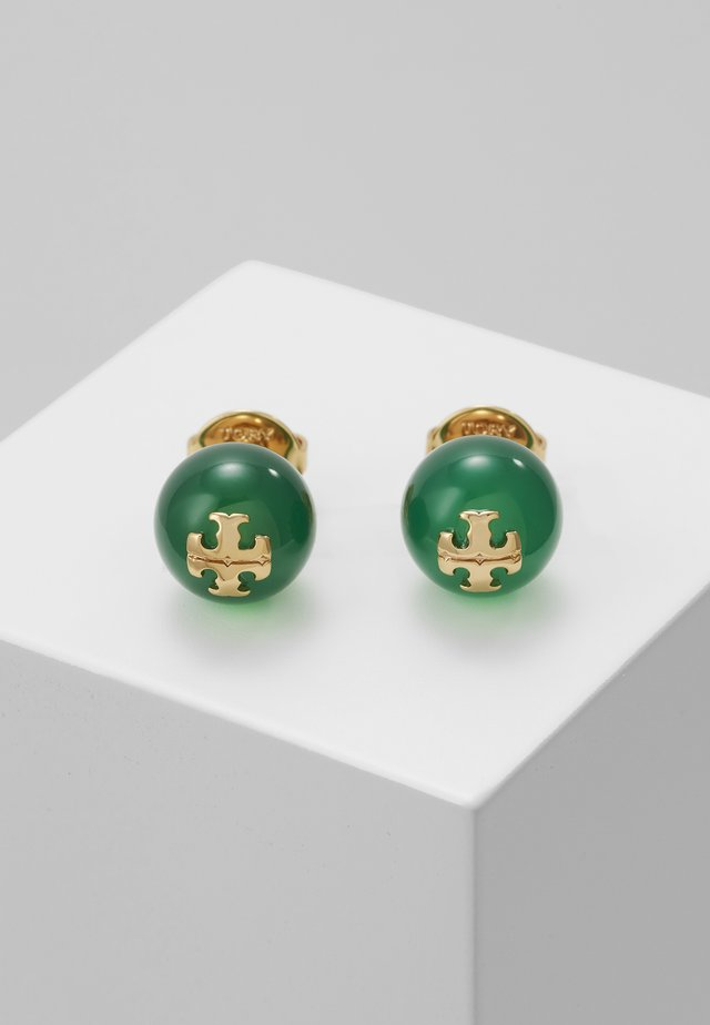 SEMI PRECIOUS STUD EARRING - Øreringe - gold-coloured/dark jade