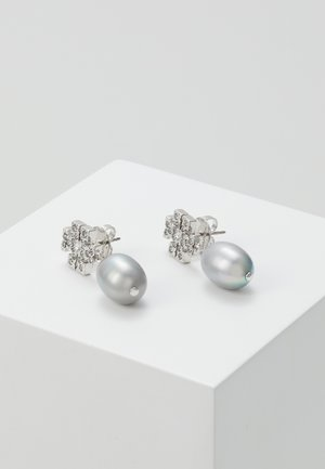 KIRA PAVE PEARL DROP EARRING - Oorbellen - tory silver-coloured