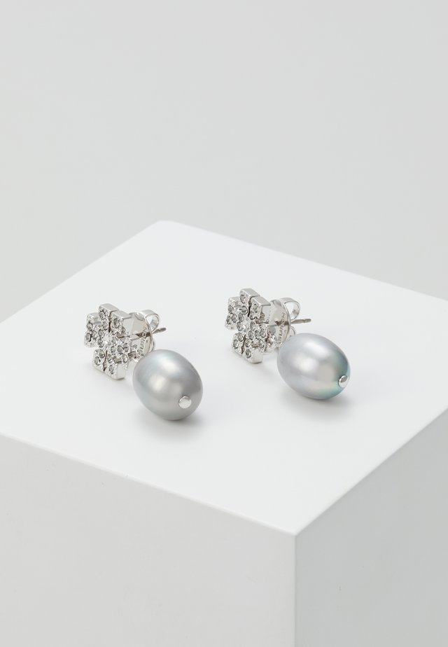 KIRA PAVE PEARL DROP EARRING - Náušnice - tory silver-coloured