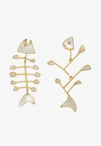 Tory Burch - SMALL INLAY MISMATCHED FISH EARRING - Earrings - vintage gold-coloured