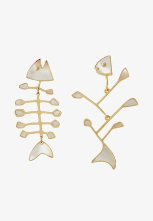 SMALL INLAY MISMATCHED FISH EARRING - Náušnice - vintage gold-coloured