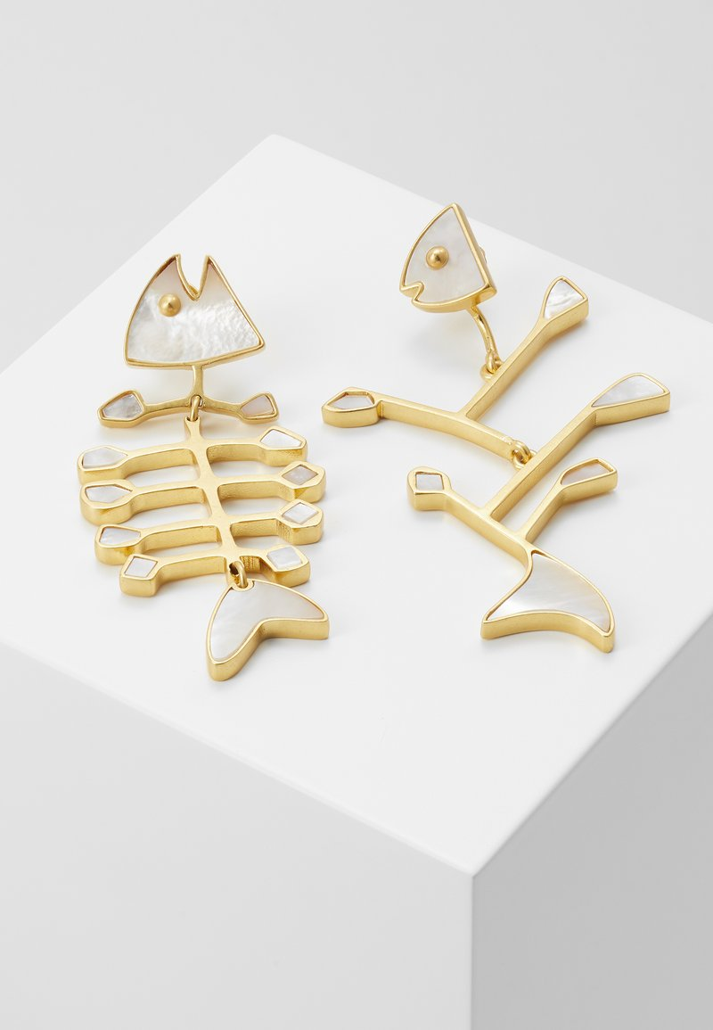 Tory Burch - SMALL INLAY MISMATCHED FISH EARRING - Náušnice - vintage gold-coloured