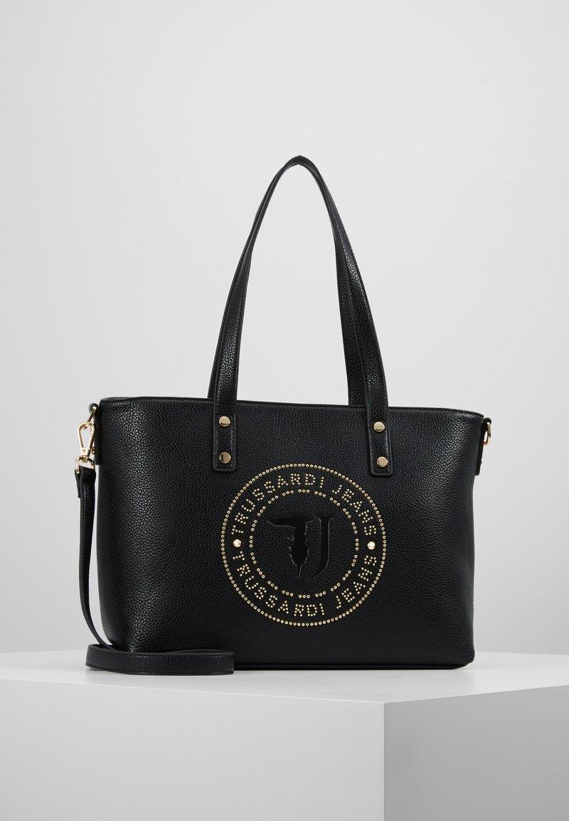 Trussardi Jeans - HARPER TUMBLED SHOPPER - Håndveske - black/light gold