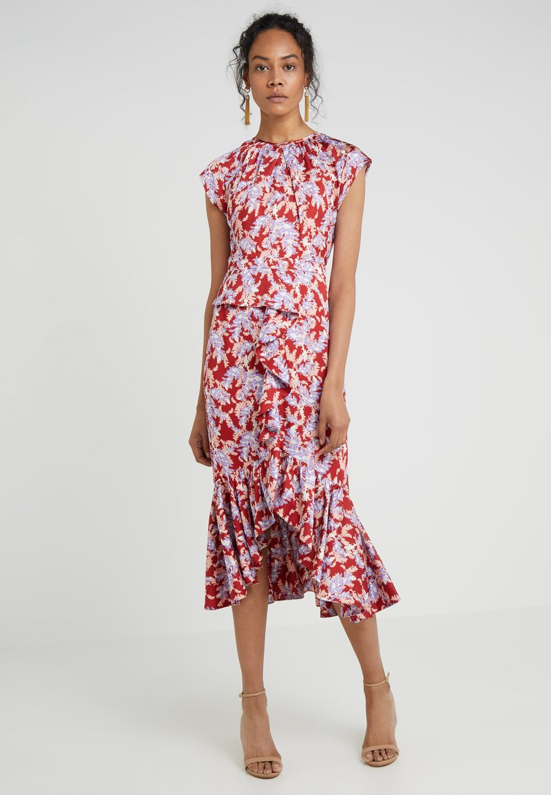 Three Floor - RUFFLE PRINT DRESS - Cocktail dress / Party dress - coral/pink