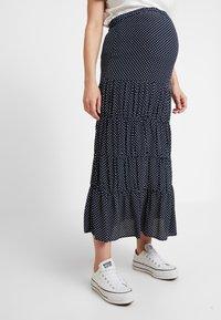 Topshop Maternity - SPOT TIERED MIDAXI - Długa spódnica - navy - 0
