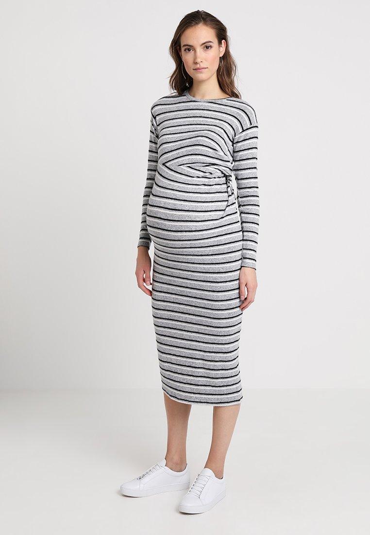 Topshop Maternity CUT SEW MIDI STRIPE - Robe pull grey