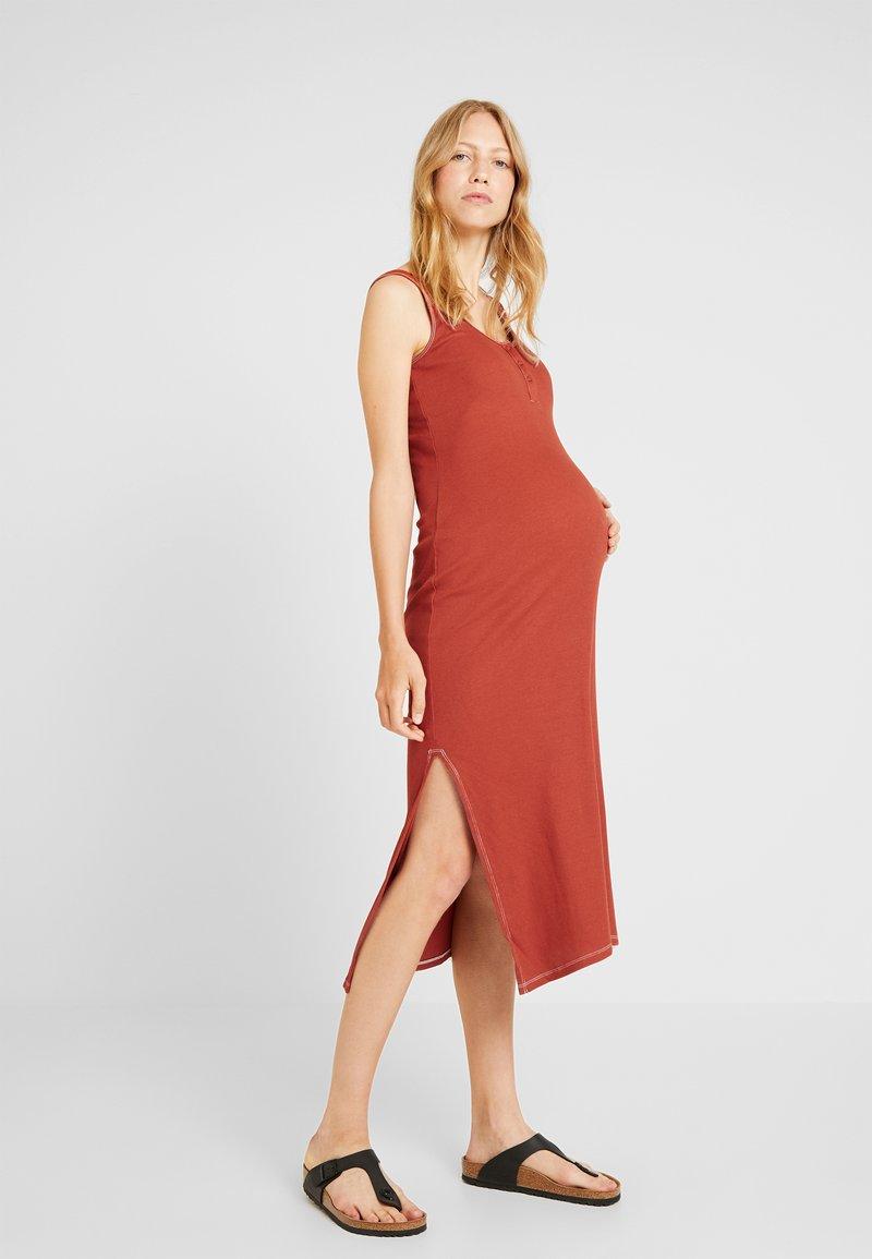 Topshop Maternity - POPPER OVERLOCK - Maxi dress - rust