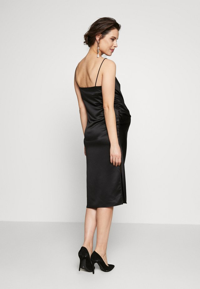 RUCH SLIP DRESS MIDI - Juhlamekko - black