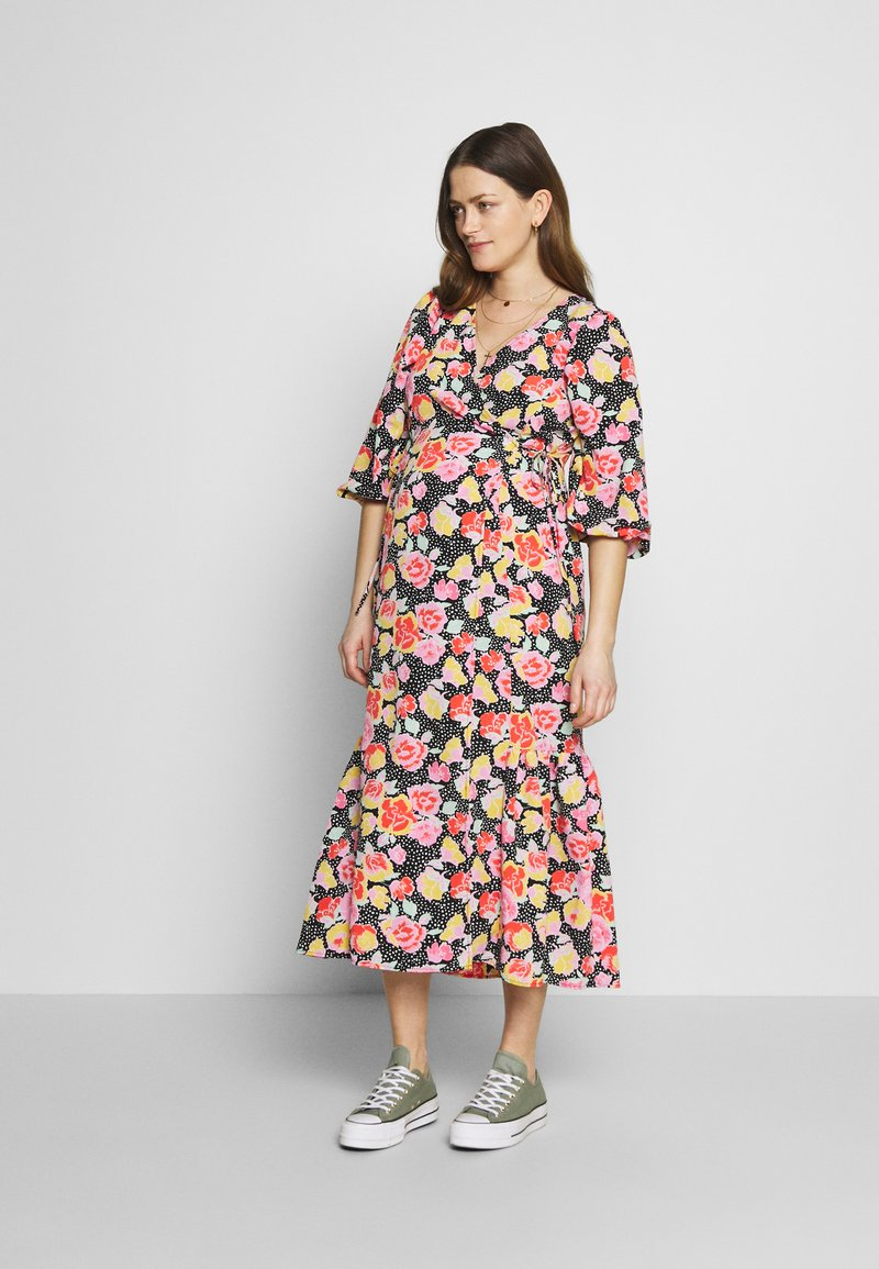 Topshop Maternity - DREAM WRAP DRESS - Sukienka letnia - black
