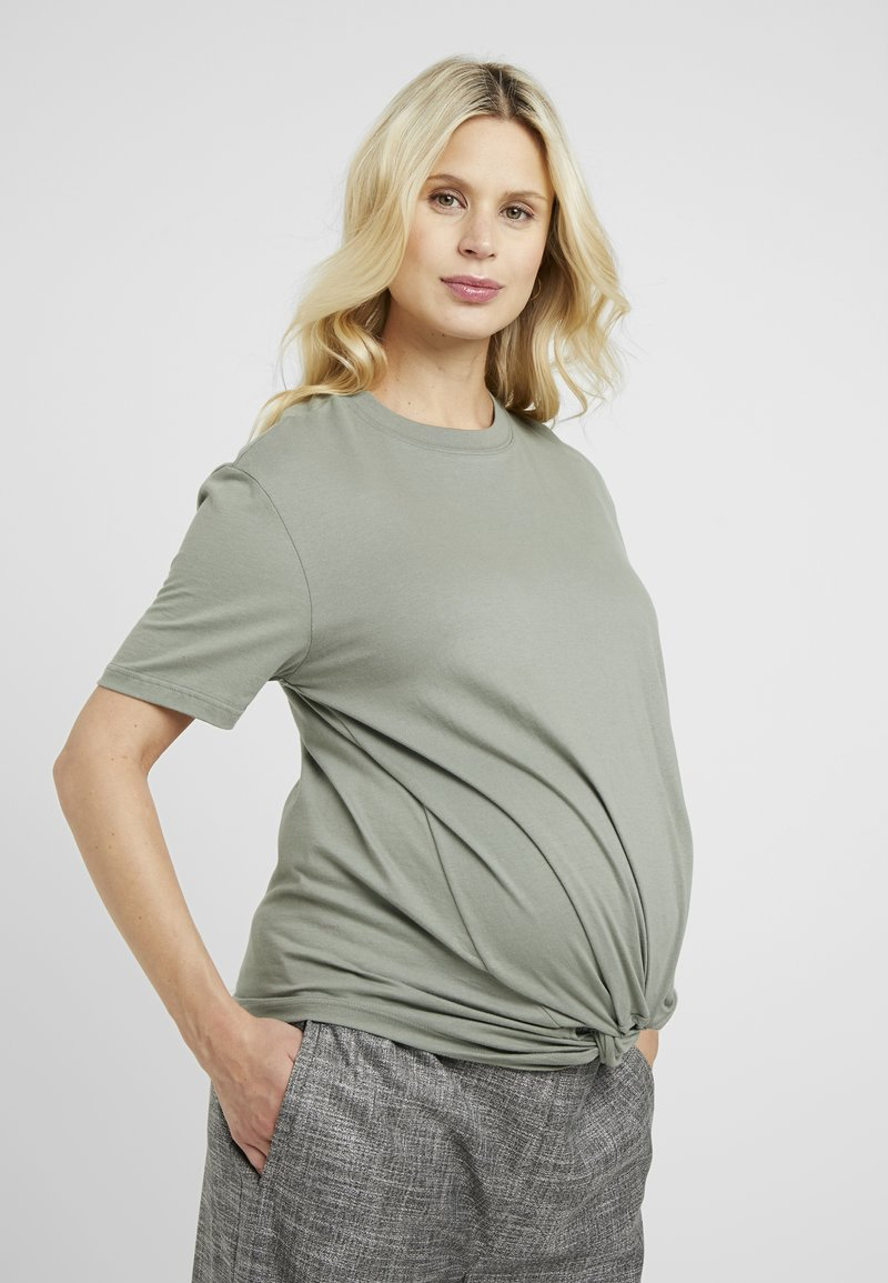 Topshop Maternity - KNOT FRONT TEE - T-shirts print - sage