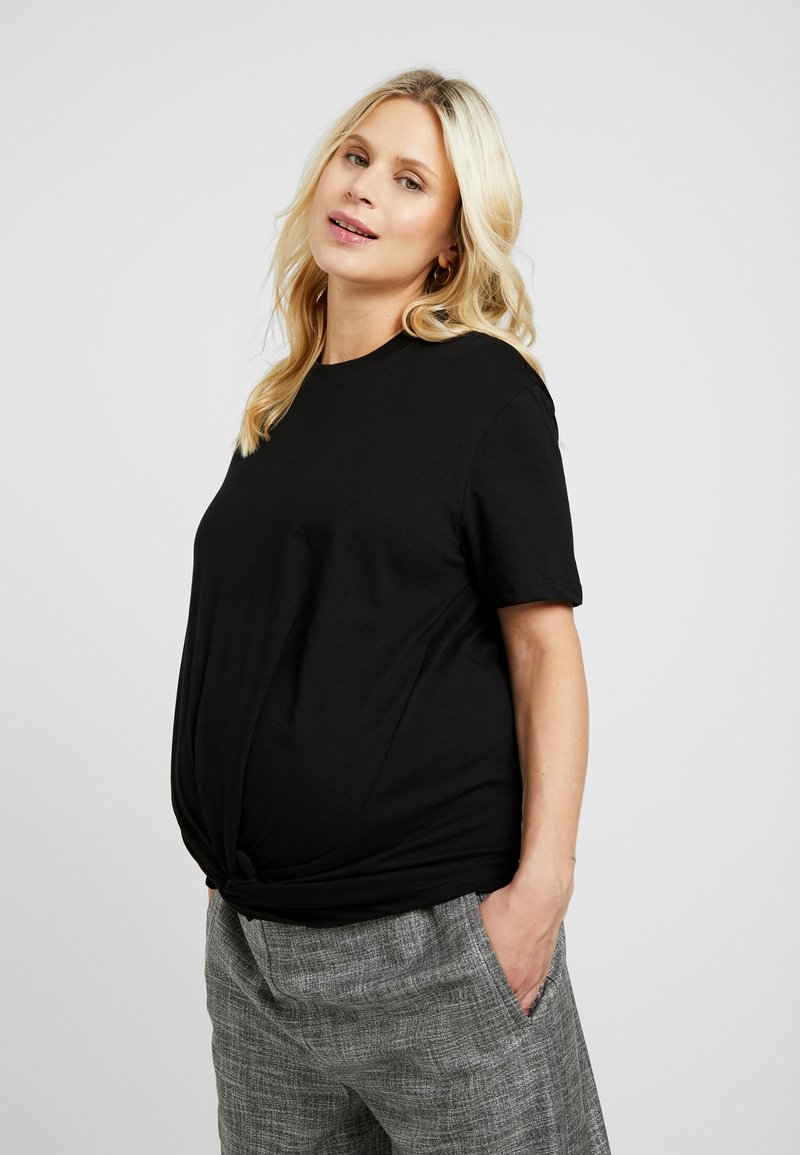 Topshop Maternity - KNOT FRONT TEE - T-Shirt print - black