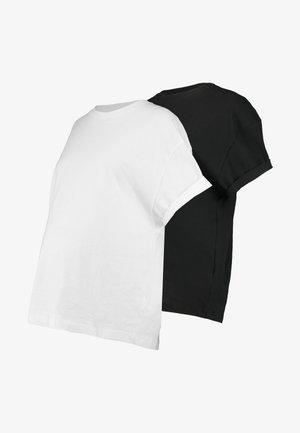 2 PACK BOXY ROLL TEE - T-shirt basic - black/white