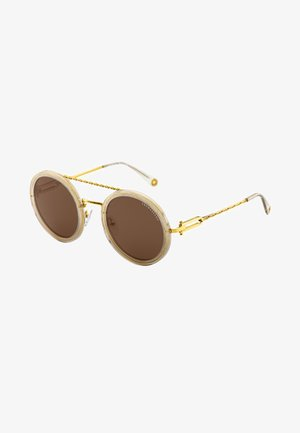 Sonnenbrille - yellow gold-shiny/grey-gold glittering glossy