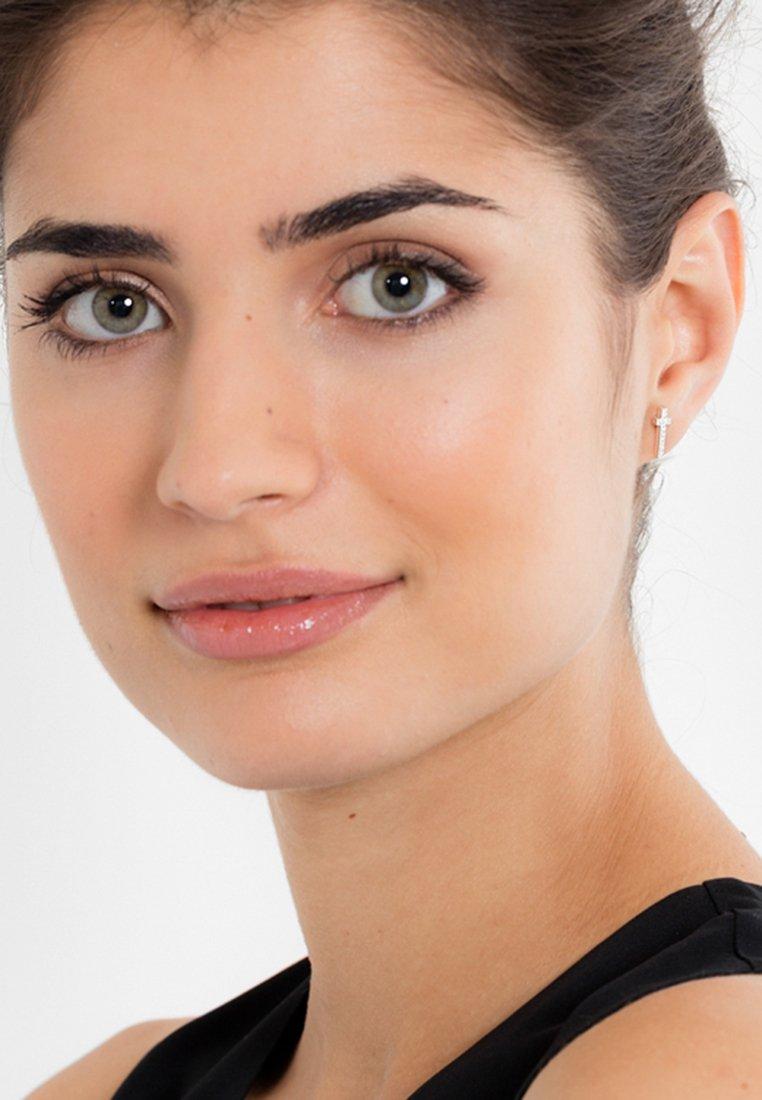 THOMAS SABO - KREUZ - Earrings - silver-coloured/white