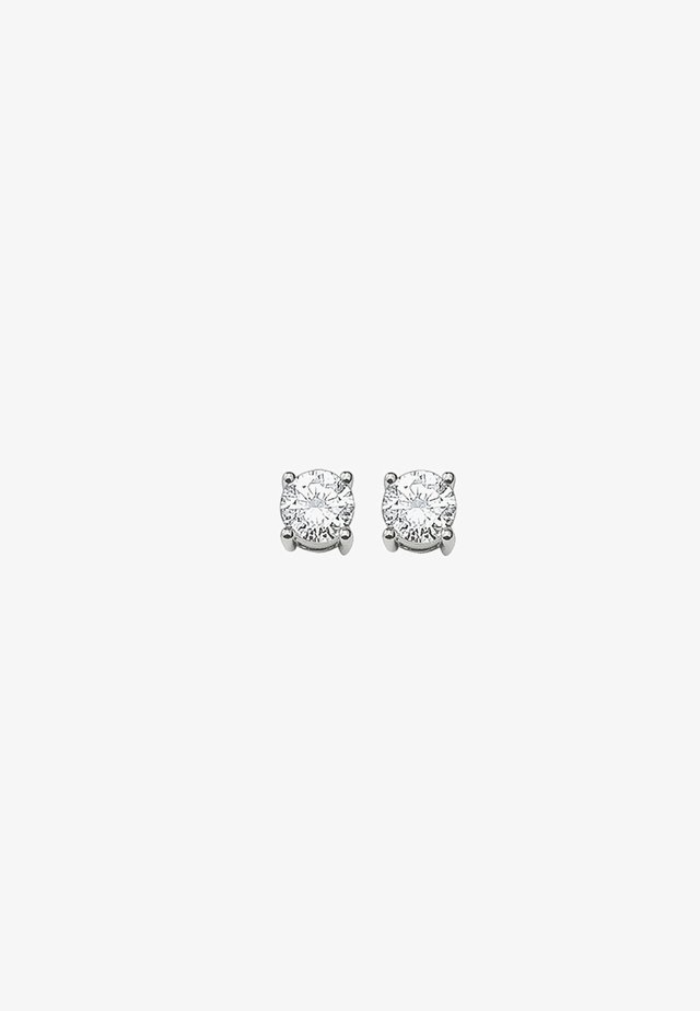 WEISSER STEIN - Earrings - silver-coloured/white