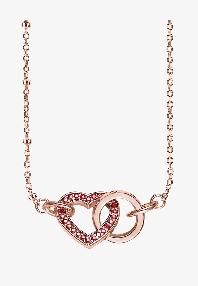 TOGETHER HERZ - Necklace - rosegold coloured, red