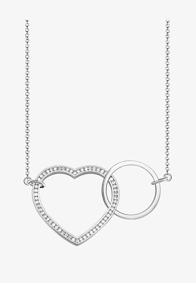 TOGETHER HERZ  - Necklace - silver-coloured,white