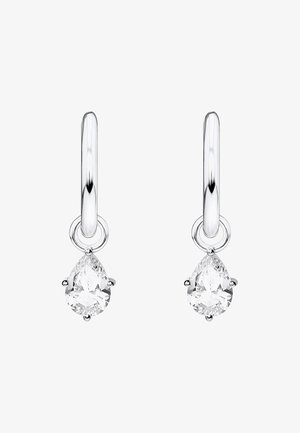 CREOLEN TROPFEN - Earrings - silver-coloured/white