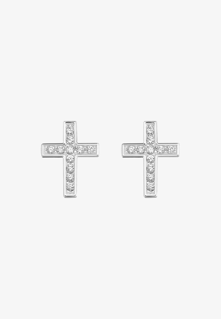 THOMAS SABO - KREUZ - Øreringe - silver-coloured/white