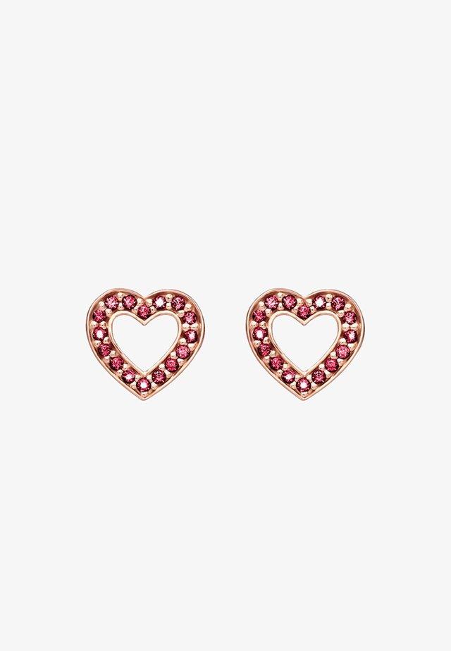 HERZEN KLEIN - Earrings - rosegold-coloured/red