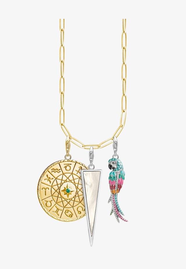 Necklace - gold-coloured, white, green, turqoise, black