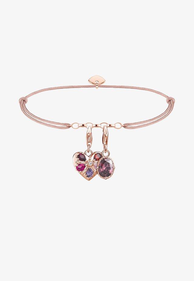 Armband - roségoldfarben, rot, violett, pink, weiß