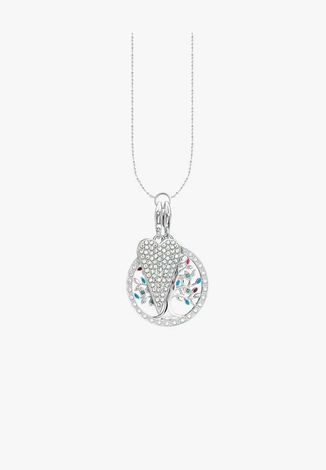 Necklace - silver-coloured, white, green, pink, turqoise