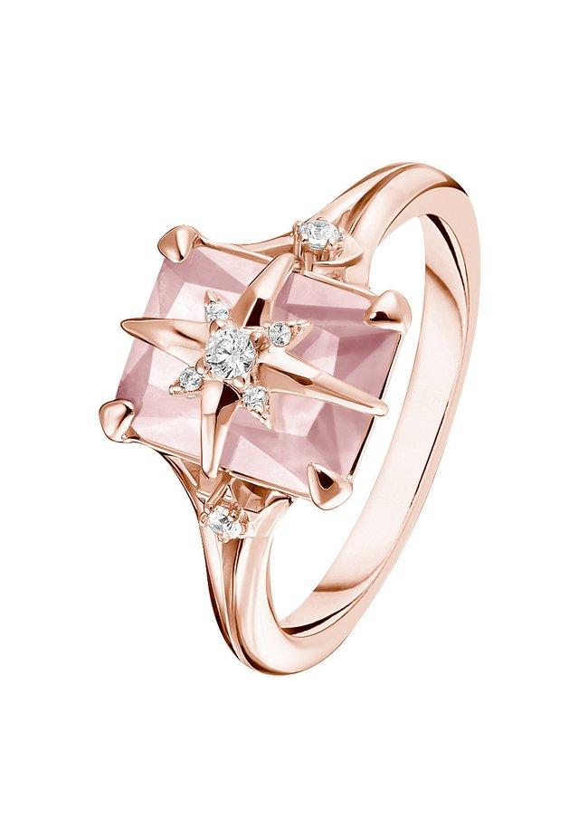 RING 925 STERLINGSILBER, 750 ROSÉGOLD VERGOLDUNG - Ring - pink, weiß, silberfarben