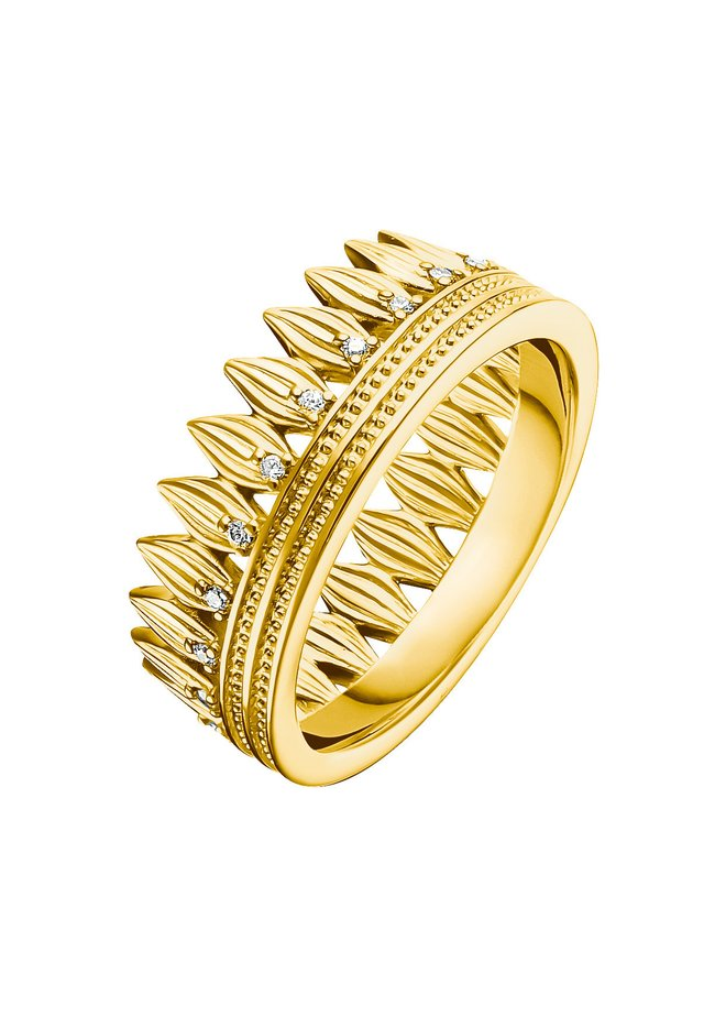 RING 925 STERLINGSILBER, 750 GELBGOLD VERGOLDUNG - Ring - weiß, gelbgoldfarben