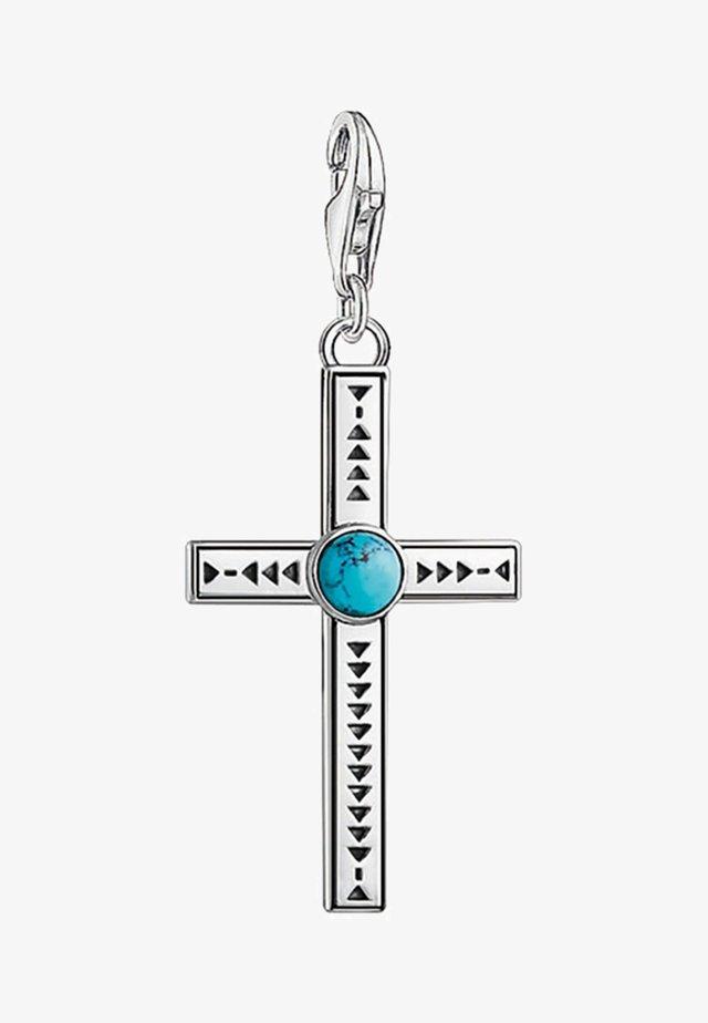 ETHNO KREUZ  - Berlocker - silver/turquoise
