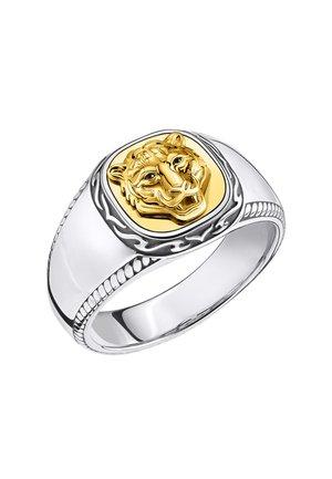 RING 925 STERLINGSILBER, GESCHWÄRZT, 750 GELBGOLD VERGOLDUNG - Ring - schwarz, gelbgoldfarben, silberfarben