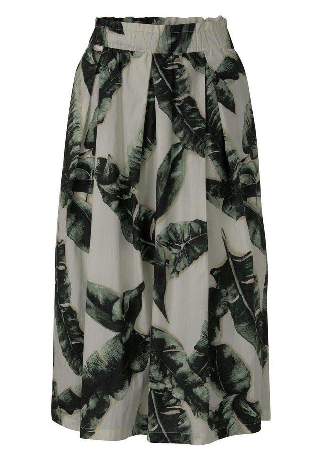 A-line skirt - ecru tropical leaves design