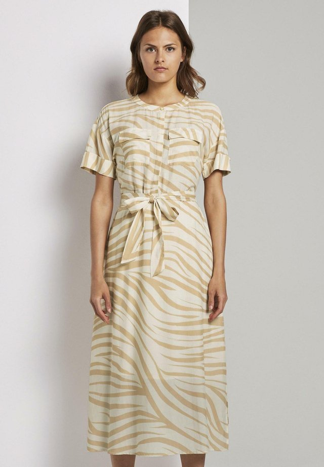 PRINT - Shirt dress - ecru zebra design
