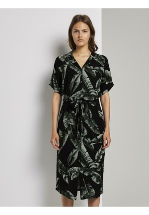 Blusenkleid - black tropical leaves design