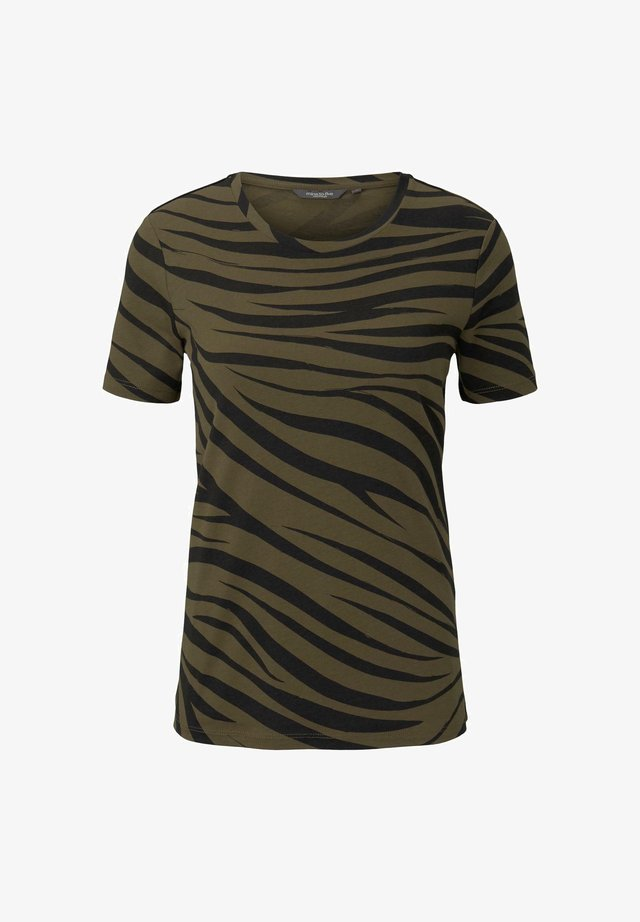 Print T-shirt - olive zebra design