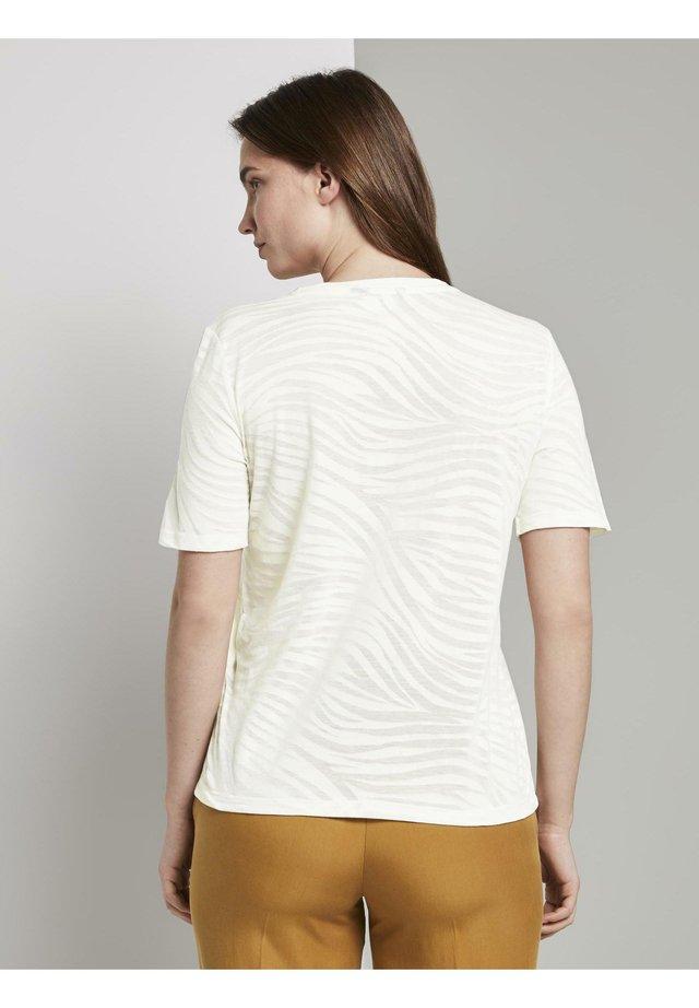 Print T-shirt - ecru burnout zebra design