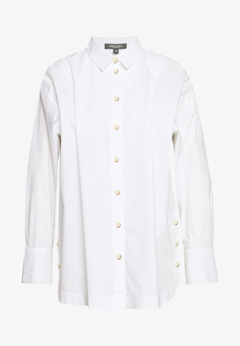 mine to five TOM TAILOR - BLOUSE WITH SLIT DETAIL - Button-down blouse - white