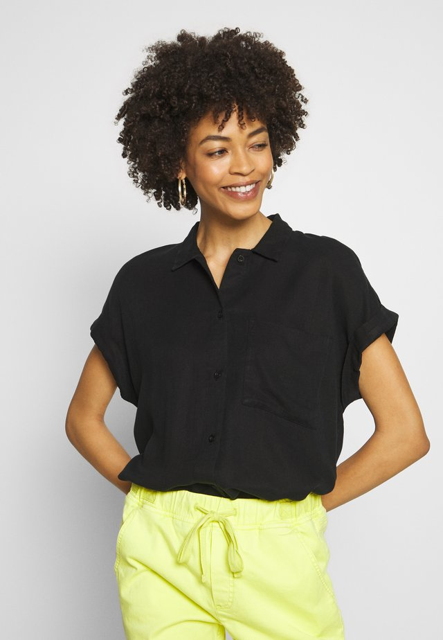 BLOUSE LOOSE - Button-down blouse - deep black