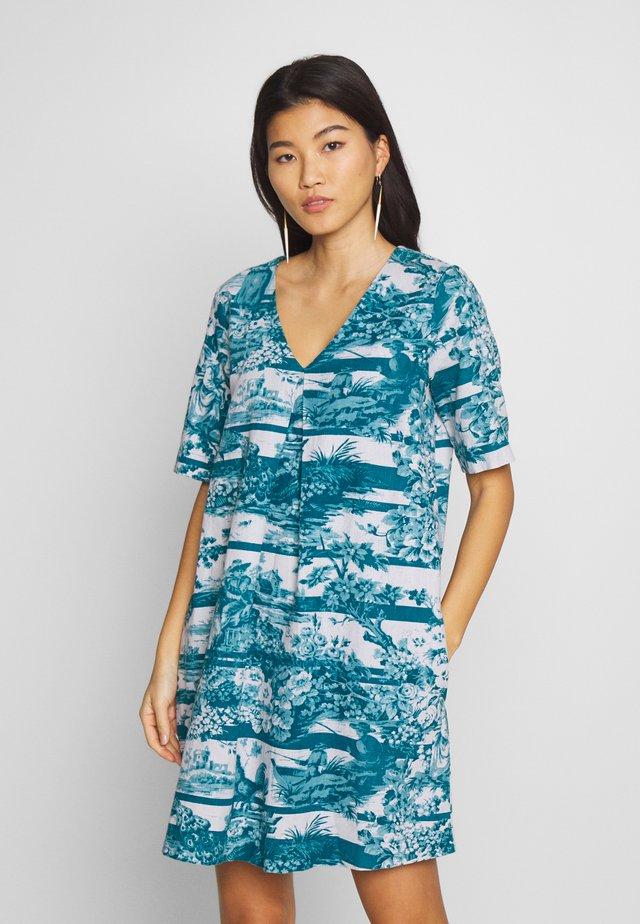 TOILE DE JOUY TUNIC DRESS - Vestido informal - lagoon blue