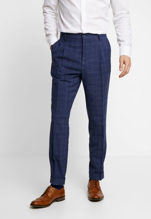 SLIM FIT PLEATED FLEX PANT - Kalhoty - blue