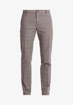 SLIM FIT WINDOWPANE FLEX PANT - Trousers - brown