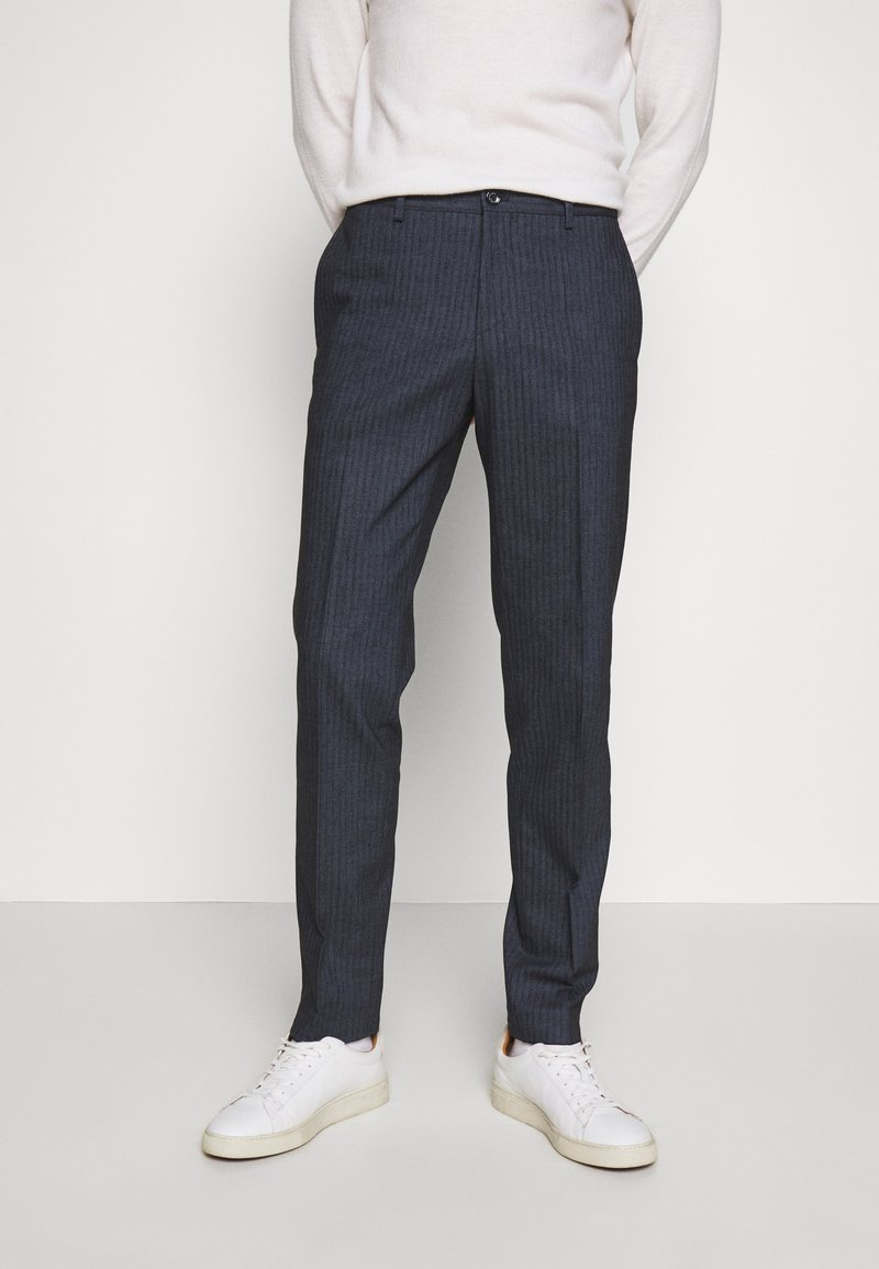 Tommy Hilfiger Tailored - HERRINGBONE SLIM FIT PANTS - Trousers - black