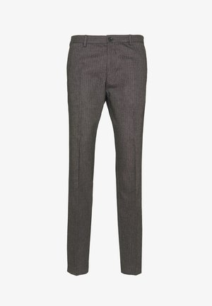 HERRINGBONE SLIM FIT PANTS - Kalhoty - black