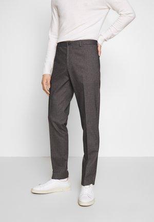 HERRINGBONE SLIM FIT PANTS - Kalhoty - black