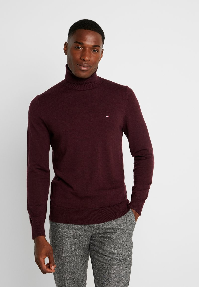 Tommy Hilfiger Tailored - LUXURY ROLL NECK - Strickpullover - mottled bordeaux