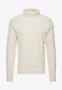 Tommy Hilfiger Tailored - CABLE ROLL NECK - Stickad tröja - white - 4