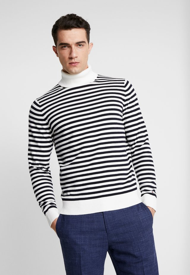 STRIPED ROLL NECK - Strikkegenser - white