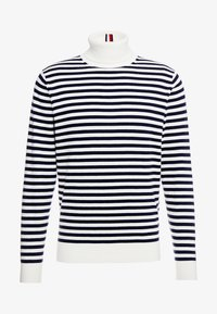 Tommy Hilfiger Tailored - STRIPED ROLL NECK - Stickad tröja - white - 4