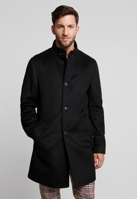 Tommy Hilfiger Tailored - STAND UP COLLAR OVERCOAT - Classic coat - black - 0